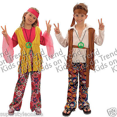 GIRLS Hippie FANCY DRESS COSTUME Boys Hippy OUTFIT 60s 70s KIDS 4-12 Y CHILDRENS - Hippie Costume For Boys