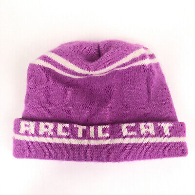 Vintage Arctic Cat roll up winter hat pink with white stripes hbw8