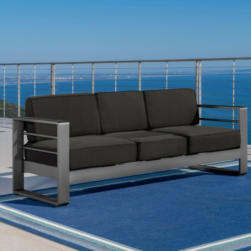 Crested Bay Outdoor Gray Aluminum Sofa Couch with Water Resistant Cushions