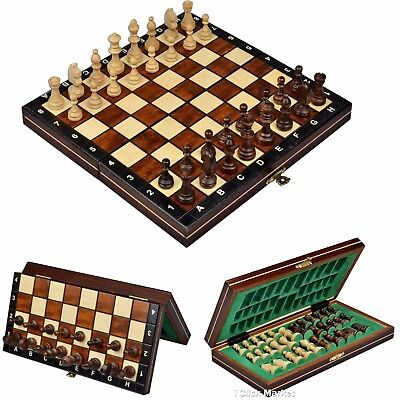 Wood Chess Wooden Magnetic Board Hand Crafted Folding Chessboard Travel Game - Magnetic Travel Games