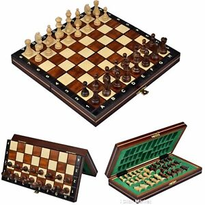 Charmant Wood Chess Wooden Magnetic Board Hand Crafted Folding Chessboard Travel  Game Set