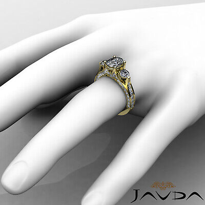 4 Prong Setting 3 Stone Oval Diamond Engagement Cathedral Ring GIA H SI1 2.3 Ct 9