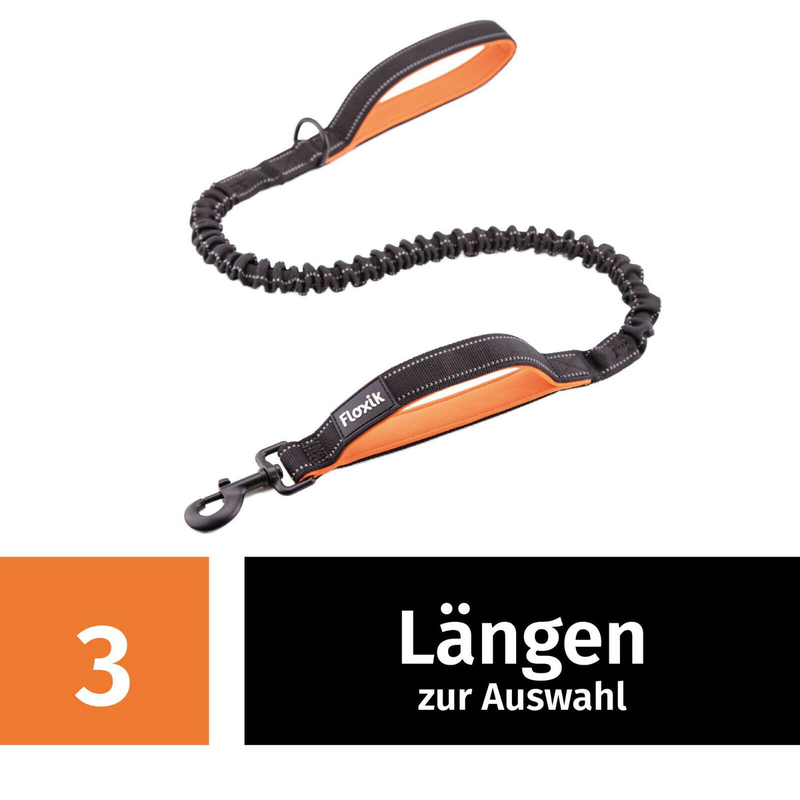 Floxik Hundeleine elastisch Bungeeleine für Hunde inkl. Kurzführer in 3 Größen