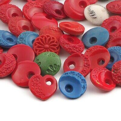 Vintage Czech red flower floral glass buttons 18mm Art Deco Lot 22
