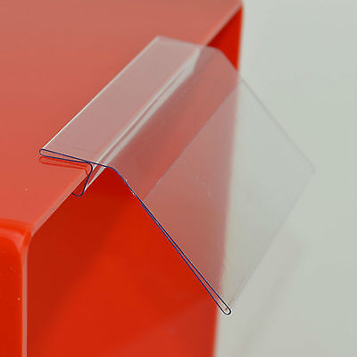 BULKBUY:100 x Ticket Holders - Angled Self Holding Shelf Clip 50mm H x 99mm W