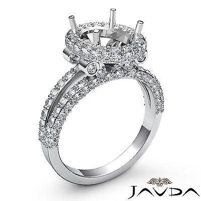 Split Shank Halo Oval Semi Mount Diamond Engagement 1.4Ct Ring 18k White Gold
