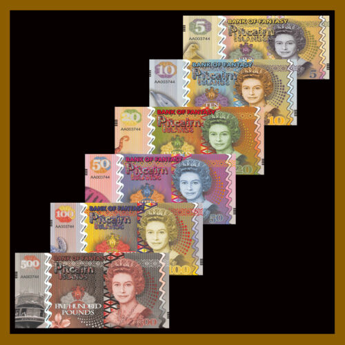 Pitcairn Islands 5 - 500 Pounds (6 Pcs Set), Matching S/N Fantasy Note Polymer