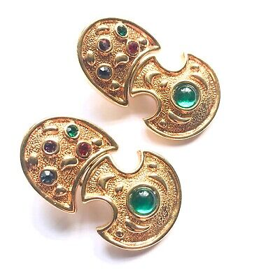 GOLD CRYSTAL CABOCHON VINTAGE COUTURE EARRINGS
