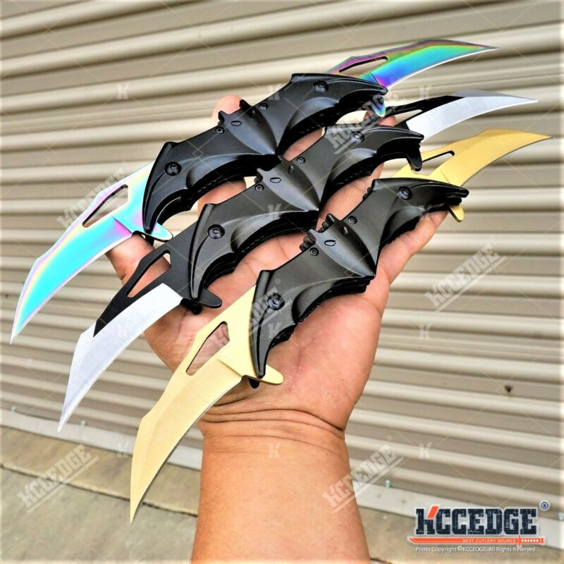 BATMAN DUAL BLADE HUNTING KNIFE Dark Knight Bat Double Blade POCKET FLIP KNIFE
