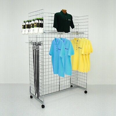 Display Grid Rack 4 Panels White Rolling Wire Retail Store Craft Show Art Stand