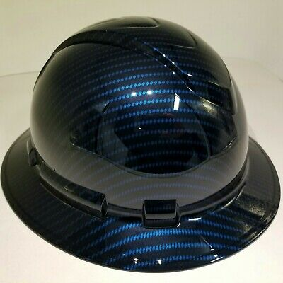 New Full Brim Hard Hat Custom Hydro Dipped Deep Blue Candy Carbon Fiber Sick