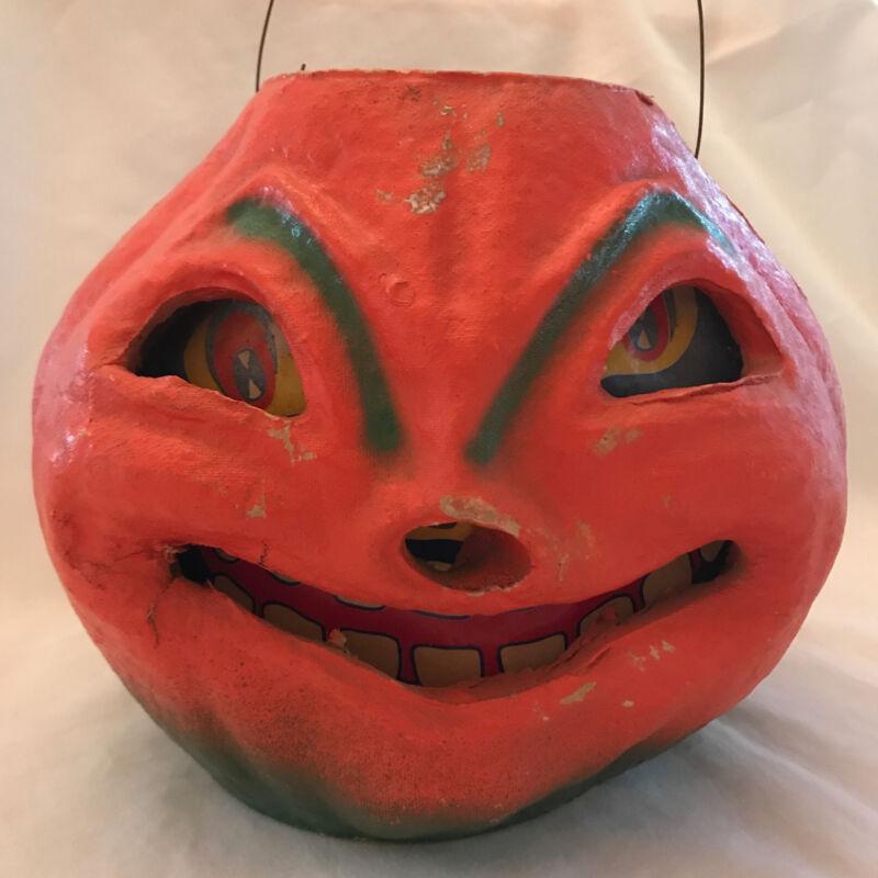 Vintage Halloween Pulp Paper Molded JOL Toothy Grin Original Insert Lantern #1
