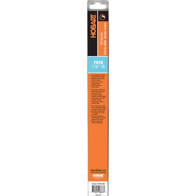 Hobart Stick Electrodes - 7018, 1/16in Dia. x 14inL, 1-lb Pkg. #H119916-R01