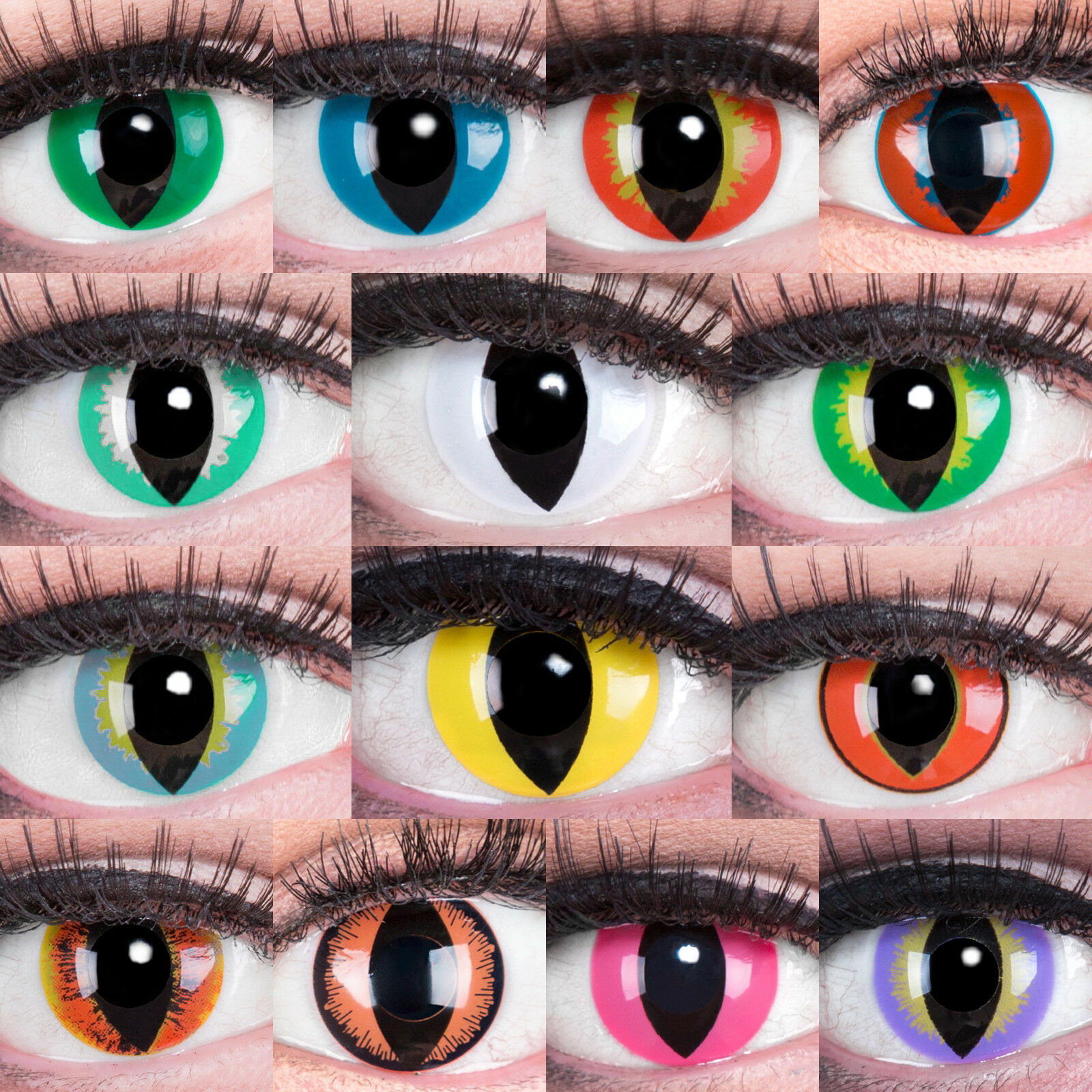 Farbige Kontaktlinsen ohne Stärke Halloween Fasching Karneval Cosplay + Behälter