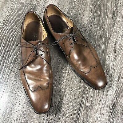 SILVANO SASSETTI Sz 10.5 Oxford Dress Shoes Distressed Brown Leather ITALY
