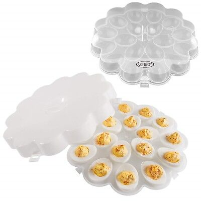 Deviled Egg Trays Snap On Lids Set of 2 Eggs Protects Safe Lid Carrier - Egg Tray