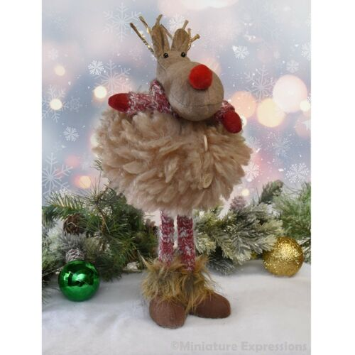 Standing Fluffy Deer with LED Light Antler - Plush Tabletop Christmas Decoration
