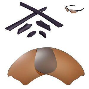 New WL Polarized Brown Lenses And Black Rubber Kit For Oakley Half Jacket XLJ