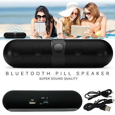 Bluetooth Wireless Speaker Mini Pill Super Bass Aux USB Stereo Mp3 Speaker Black
