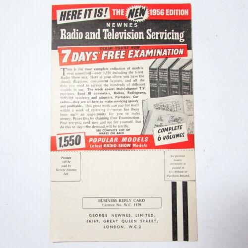 Vintage Radio And Television Servicing Advertisement 1956 Flyer Leaflet Newnes