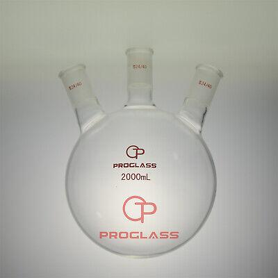 Proglass Three Necks Round Bottom Flask 2000ml 2440hand Blowering