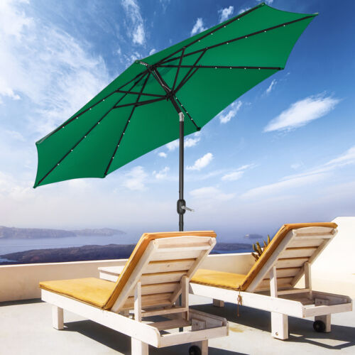 10FT Patio Solar Umbrella 32LED Patio Market Steel Tilt W/ Crank Outdoor Green Garden Structures & Shade