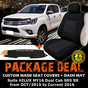 Custom Seat Covers + Dash Mat to Suit Toyota Hilux Dual Cab SR5 SR 10/2015-2016