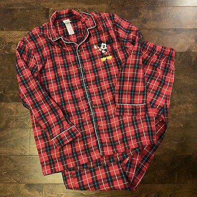 Men's Disney Store Christmas Pajamas PJs Red Plaid Holiday Mickey Mouse Small