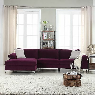 Modern Large Velvet Fabric Sectional Sofa with Extra Wide Chaise Lounge - Purple
