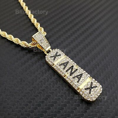 - Hip Hop Iced Lab Diamond Xanax Pendant & 4mm 24