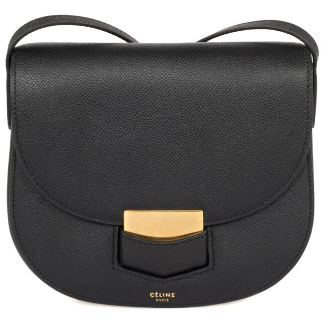 Celine Trotteur Small Black Grained Calfskin Leather Crossbody ...
