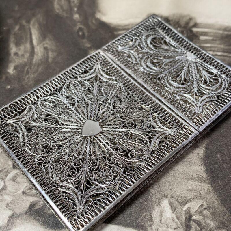 ANTIQUE SILVER FILIGREE CARD CASE late Ottoman Empire C.1880 LATE VICTORIAN