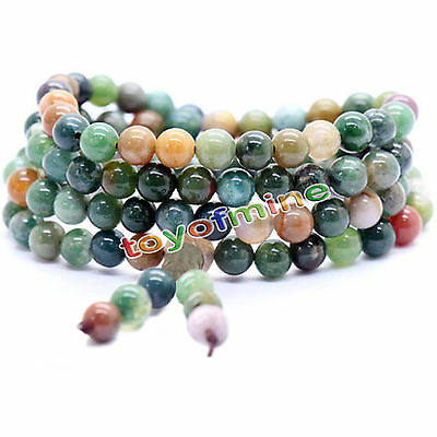 Tibetan Buddhist 6mm India Agate 108 Prayer Beads Mala Bless Bracelet Necklace