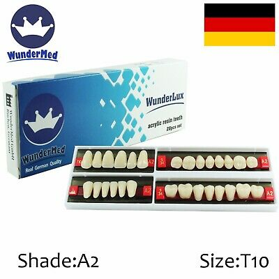 Dental Artificial Acrylic 28 Teeth Tooth Wunderlux Shade A2 Size T10