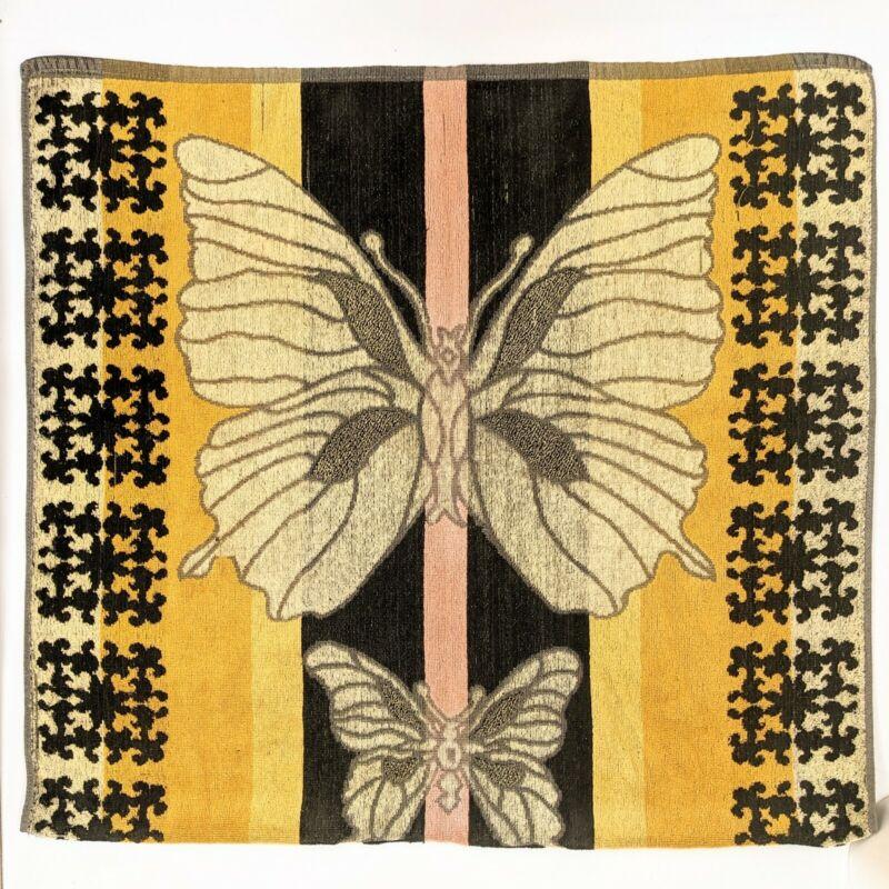 Vintage 1970s Butterfly Bohemian Hippie Cotton Beach Towel