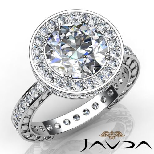 Floral Design Halo Double Prong Round Diamond Engagement Ring GIA F VS1 2.5 Ct