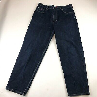 Vintage Tommy Jeans Hilfiger Mens Dark Wash Flag Relaxed Straight Jeans 38x32