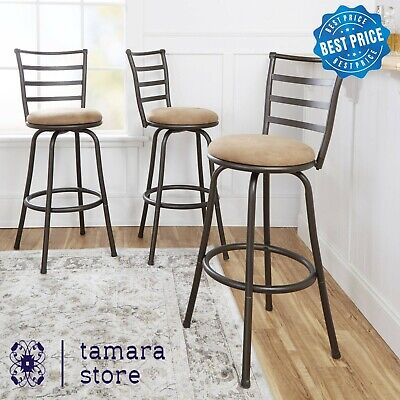Swivel Bar Stools Adjustable Counter Height Kitchen Dining Chair Brown Set of 3