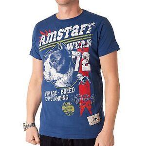 amstaff-VINTAGE-lomex-Camiseta-Hombre-Camiseta-azul-32581