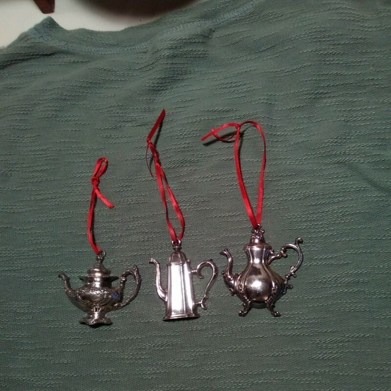 3 Hanging Reed And Barton SilverPlate Tea Pots Ornaments Vintage Christmas decor