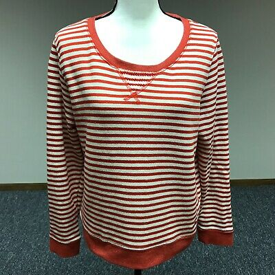 Levi's Womens Sweater Long Sleeve Knit Shirt Red White Striped Pullover Size XL - Long Sleeve Knit Shirt