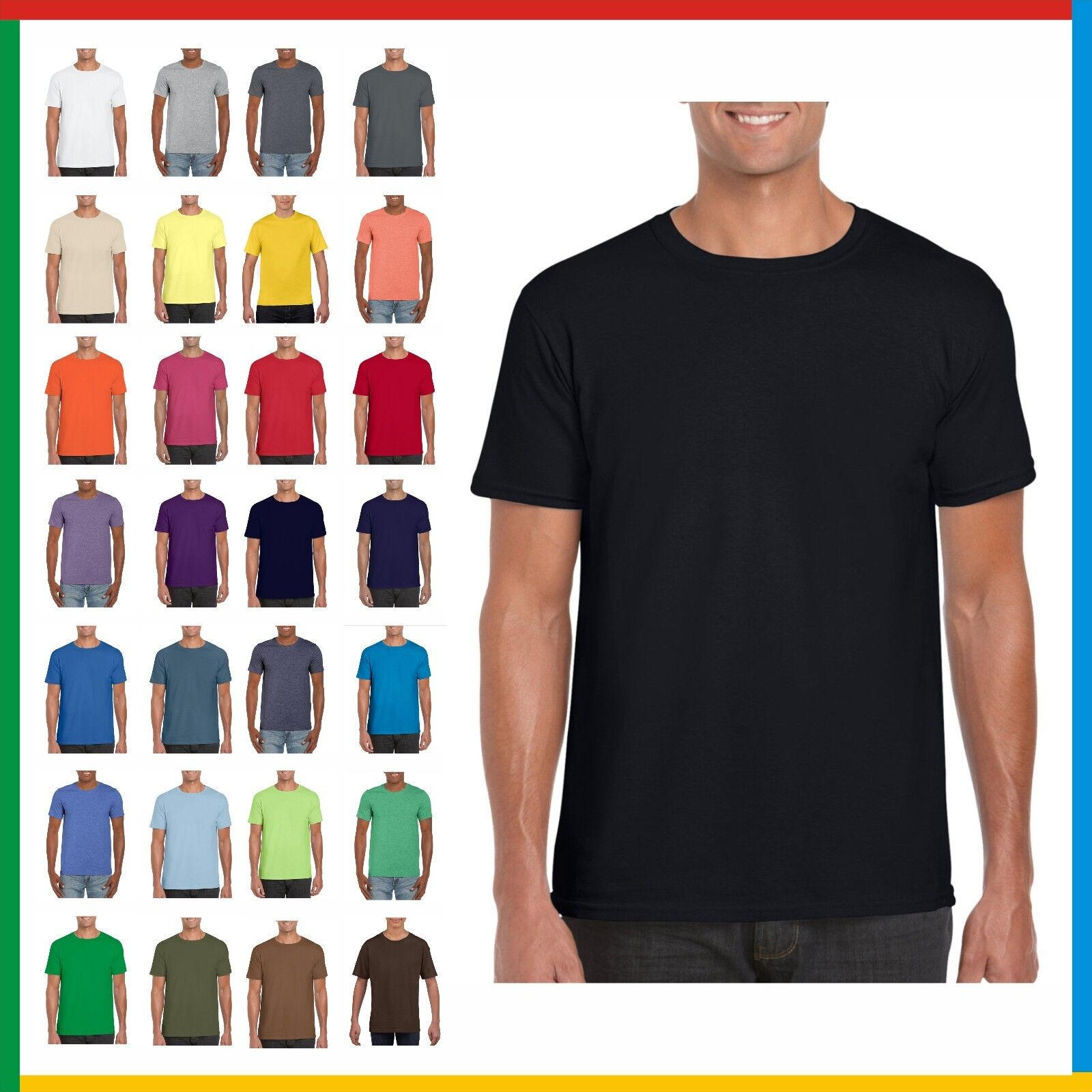 100% RINGSPUN PLAIN COTTON T-SHIRT GILDAN Soft Feel T SHIRT: Small - 3XL Tees