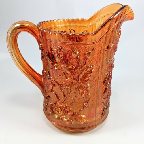 Luster Rose Marigold Carnival Glass Miniature Pitcher by Imperial Amber