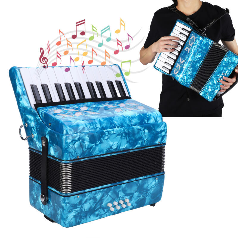 22-Key 8 Bass Piano Accordion with Straps Cleaning Cloth Educational Musical