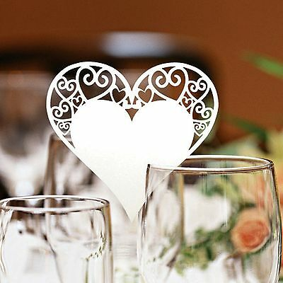 Heart Wedding Name Place Cards For Wine Glass Laser Cut On Pearlescent Card - Placecards For Wedding