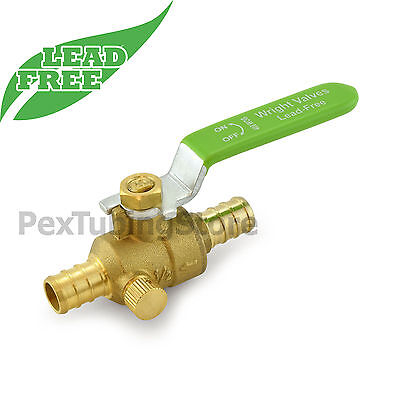 10 12 Pex Crimp Shut-off Lead-free Brass Ball Valves W Drain Full Port