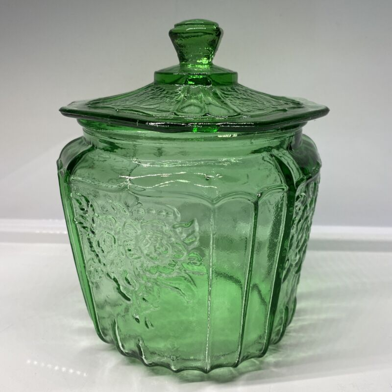 Vintage Green Depression Glass Mayfair Open Rose Cookie Jar Gorgeous