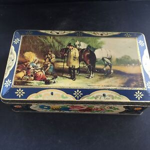 Vintage-1934-Advertising-Toffee-Tin-BLUE-BIRD-Assorted-TOFFEES-Crown-Derby