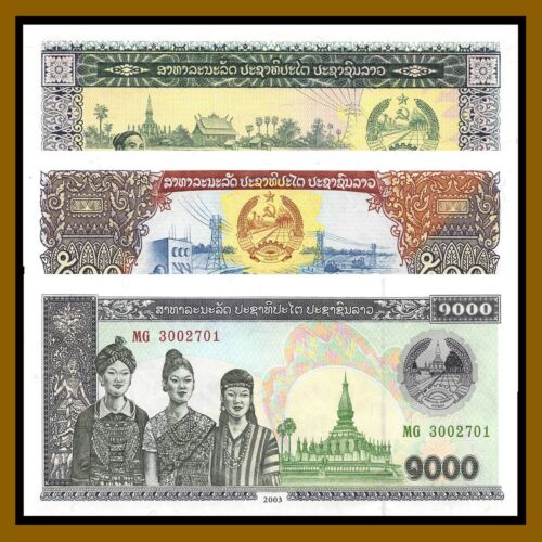 Laos 100 500 1000 Kip (3 Pcs Set), 1979-2003 P.30/31/32Ab Uncirculated Unc