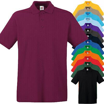 Polo da Lavoro Uomo T Shirt Con Colletto 100% Cotone FRUIT OF THE LOOM Premium